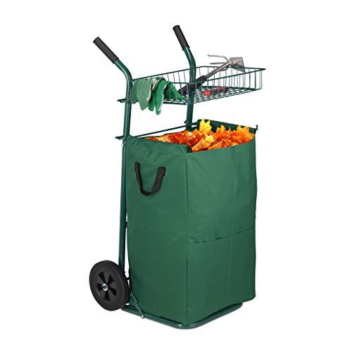 Relaxdays Laubkarre, großer Gartentrolley mit Laubsack, 70 L Volumen, Ablage, Vollgummireifen, Sackkarre klappbar, grün