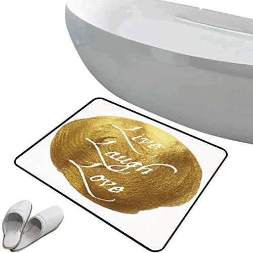 Tapis de bain antidérapant Paillasson Live Laugh Love Decor sol antidérapant en caoutchouc Mots inspirants Message de la vie sur un grand or Design moderne de taches de couleur,or blanc,Intérieur/Exté