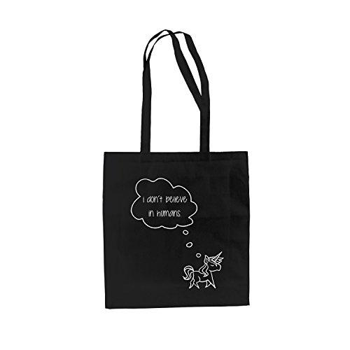 shirtdepartment Baumwolltasche Jutebeutel Baby Einhorn Damentasche Einkaufstasche Stylisch Hipster, schwarz