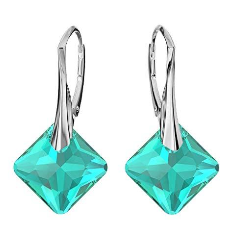 **Beforya Paris** - Princess Cut - Ohrringe - Farben Varianten !! - Silber 925 Schön Damen Ohrringe mit Kristallen von Swarovski - Wunderbare Ohrringe mit Geschenkbox PIN/75 (Emerald)