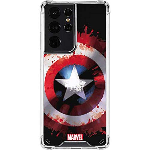 Skinit Clear Phone Case Compatible with Galaxy S21 Ultra 5G - Officially Licensed Marvel Captain America Shield Design