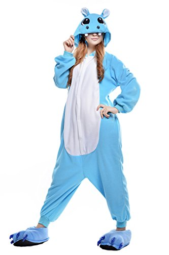 Newcosplay Adult Onesie Cosplay Costume Sleepwear Pajamas (XL, blue hippo)