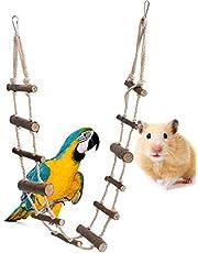 Juguete de escalera para pájaros de 12 pasos escaleras flexibles de madera, jaula de puente de suspensión, hamaca para colgar, juguete para loro, hámster, ardilla, chinchillas, azucarero