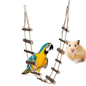 Échelle à oiseaux 12 marches flexible en bois pour perroquet, hamster, écureuil, chinchillas, sucre planeur