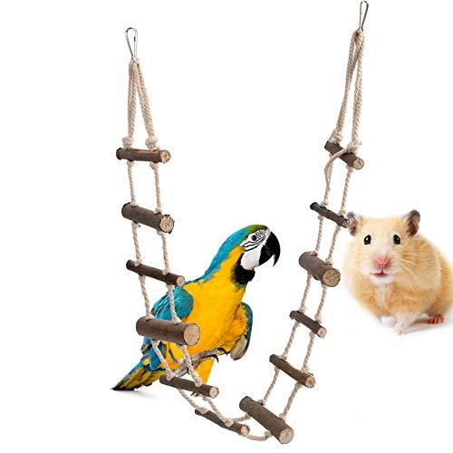 Scaletta Flessibile per Uccelli Scaletta Flessibile a 12 gradini Ponte sospeso in Legno Gabbia Amaca Altalena Giocattolo sospeso per Pappagallo Criceto Scoiattolo Cincillà Aliante di Zucchero