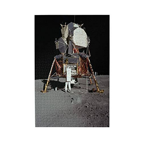 """YOLIKA Rompecabezas de Imágenes 1000 Piezas,Aterrizaje Lunar Apolo 11 Buzz Aldrin Luna Lunar Antideslizante,Regalo Ideal Gracioso Juego Familiar Decoración para el Hogar Colgante,19.7"""" x 29.5"""""""