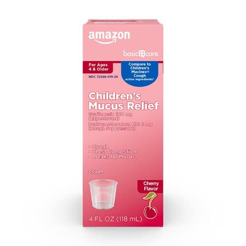 Amazon Basic Care Children's Mucus Relief Cough, Cherry Flavor, 4 Fl Oz