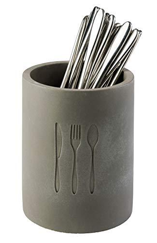 """APS Besteckbehälter """"Element"""" - Hochwertiger Behälter aus Beton mit Bodeneinlage aus Silikon zum Schonen der Messerspitzen und möbelschonender Unterseite"""
