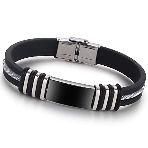 MSTOT eenvoudige sieraden Koreaanse versie op maat Titanium stalen armband 6 kleine ring armband zwarte slang ketting armband