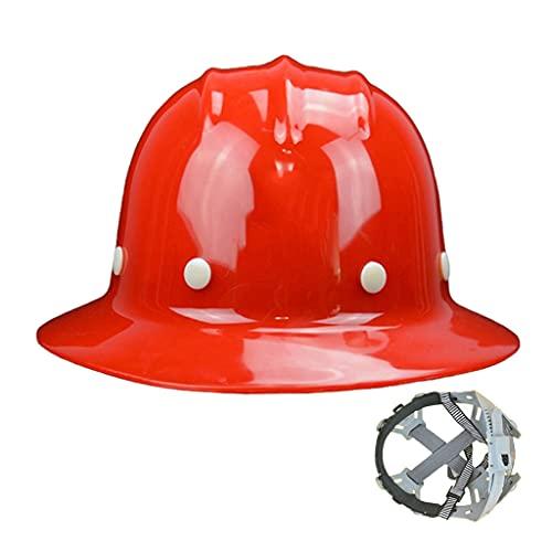 ZDDZ Cascos de Seguridad Trabajo de Construcción de ala Completa Azul Blanco Amarillo Rojo Cascos de Inspección de Líderes con Correas para La Barbilla