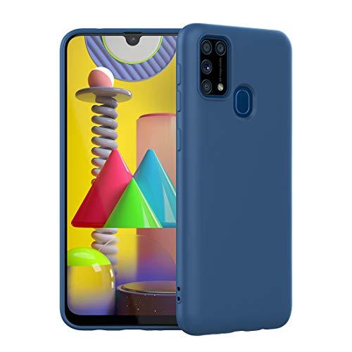 FUNMAX+ für Samsung Galaxy M31 Hülle Case, Silikon Handyhülle mit Faser-Futter Anti-Scratch Dünn Schutzhülle Stoßfest Fall für Galaxy M31 2020 (Blau)
