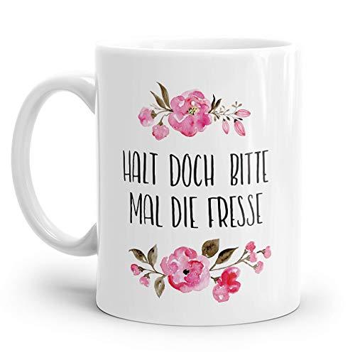 Tasse mit Spruch: HALT DOCH BITTE MAL DIE FRESSE | Personalisierbar | mit rosa Blumen