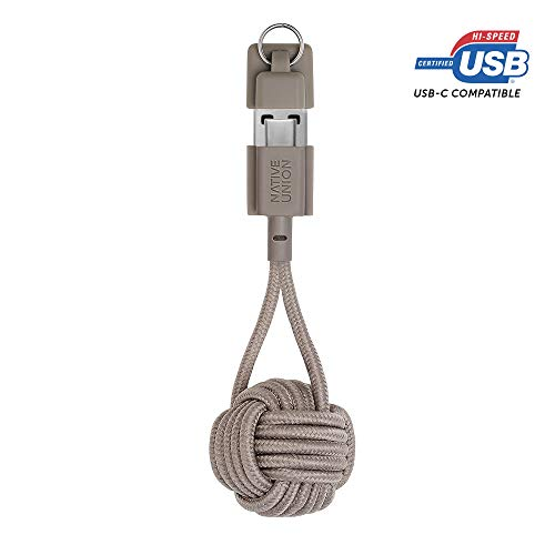 Native Union Key Cable USB-C to USB-A - Ultra-Strong Charging Cable with Key Fob for Samsung Galaxy Z Flip, S20, S20+, S20 Ultra, A20s, A71, Note10+, Google Pixel 4 (Taupe)