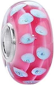Cuentas Materia para mujer de cristal de Murano rosa y azul, con casquillo de plata 925 con lunares de 8 x 14 mm, para pulsera 357