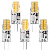 Bonlux - Lote de 5 bombillas G4 de 2 W para maíz CA/CC 12 V 200 lm, equivalente a lámpara halógena/incandescente de 20 W, G4, base de dos pines, tipo de ahorro de energía, bombilla blanca fría 6000 K
