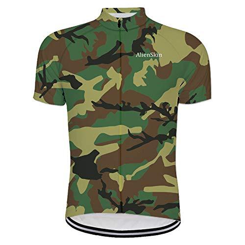 Herren Kurzarm Radtrikot Fahrradtrikot,Sommer Atmungsaktiv Quick Dry Mountain Bike Trikot Shirt,Rundumreißverschluss Grüne Camouflage Mtb Rennrad Reiten Tops Für Sport Im Freien Fahrrad Kleidung,