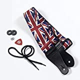 KLIQ Vintage Woven Guitar Strap for Acoustic and Electric Guitars + 2 Free Rubber Strap Locks, 2 Free Guitar Picks and 1 Free Lace | Terylene Printed Pattern Style | Union Jack