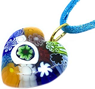 Regalos para las mujeres regalos para las mujeres–cristal de Murano Millefiori colgante de corazón–Multicolor 2,5cm–incluye caja de regalo (One se envía)