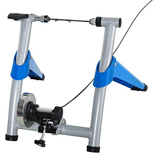 homcom Rullo per Bici per Allenamento a Casa 8 Livelli di Resistenza, per Biciclette con Ruote da 26'-29', Blu, 77x56x47.5cm