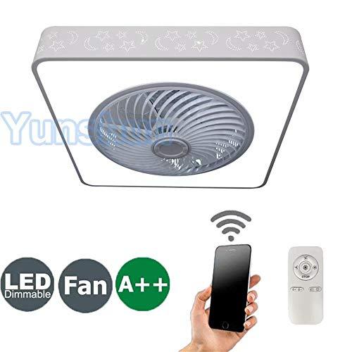 Yunshun Deckenventilator Mit Beleuchtung Creative Deckenleuchte Led Dimmbare Deckenlampe Fan Deckenleuchte Fernbedienung Ultra-Leise Kann Modernes Wohnzimmer Schlafzimmer Lampe Φ55 H18Cm