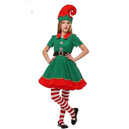 Disfraz de Duende de Navidad para Hombres, Mujeres y niños Navidad, Carnaval y Cosplay (170cm, Mujeres)