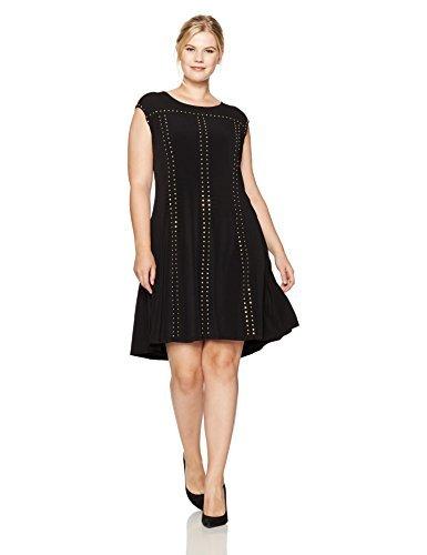 Calvin Klein Women's Plus Size Line Dress With Studs, Black