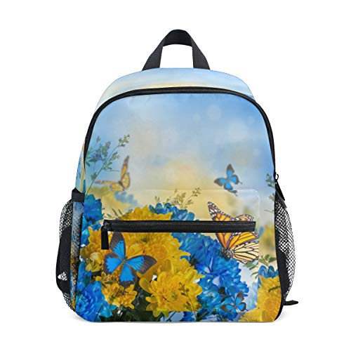Hunihuni - Zaino per bambini con fiori e farfalle, motivo floreale, per la scuola materna