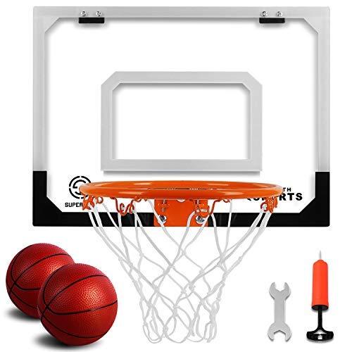 Pro Indoor Mini aro de baloncesto sobre la puerta – Juego de aro de baloncesto montado en la pared con accesorios completos – Juguetes de baloncesto para niños y adultos