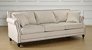 Tov Furniture The Camden Collection Contemporary Linen Upholstered Living Room Sofa with Nailhead Trim, Beige