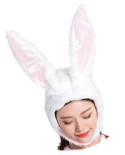 ADJOY White Plush Rabbit Ear Bunny Hat for Girls Women Halloween Role Play Rabbit Animal Party Hat with Soft Wire Frame Inside for Making Shape