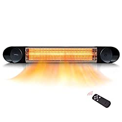 Electric Patio Heater – Infrared Heater Outdoor and Indoor Use – Veito Wall Mount Heater with Remote – 1500W (Black)