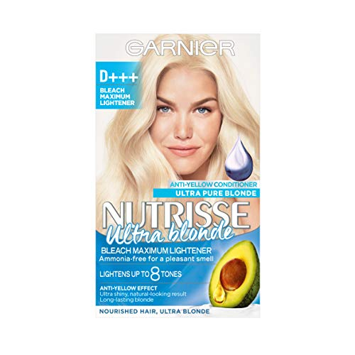 Garnier Nutrisse Hair Bleach Permanent, with Purple Anti-Yellow Conditioner - D+++ Bleach Maximum...