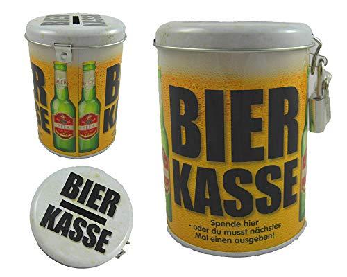 alles-meine.de GmbH Sparbüchse -  Bier Kasse  - incl. 2 Schlüssel und Schloss - stabile Spardose - aus Metall - Blechdose - Geld Sparschwein - Bierfass Bierkrug / Bierdose - Ju..