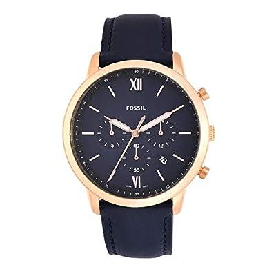 Fossil Men's Neutra Chrono Quartz Leather Chronograph Watch, Color: Rose Gold, Navy (Model: FS5454)