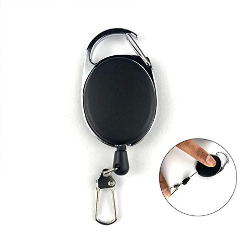 JLZK Metal Key Chain Card Badge Holder Steel Recoil Ring Clip Gift Key Rings Accessories