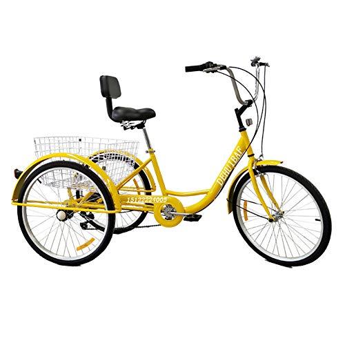 Qnlly Blanc 3 Roues Tricycle 24 Pouces vélo Adulte 6 Vitesse de croisière vélo avec Panier pour Homme Femme, achats Personnes âgées,Blanc