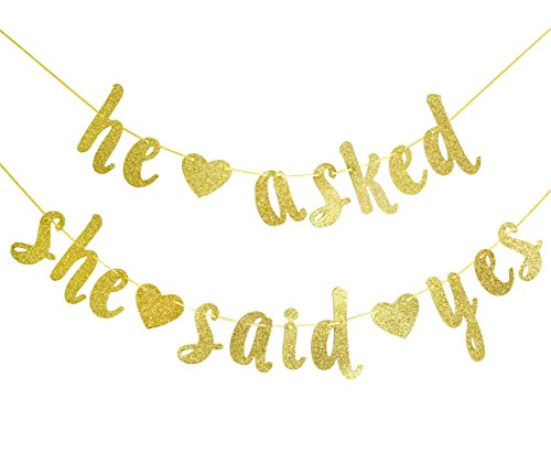 Qttier He Asked She Said Yes Gold Glitter Banner - Wedding, Engagement, Bridal Shower Party Decorations