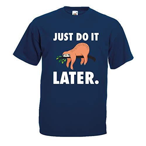 Shirt-Panda Herren Just do it Later Faultier liegend T-Shirt Männer Chillen Sloth Dunkelblau (Druck Weiß) S