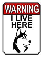 警告私はここに住んでいます 金属板ブリキ看板警告サイン注意サイン表示パネル情報サイン金属安全サイン