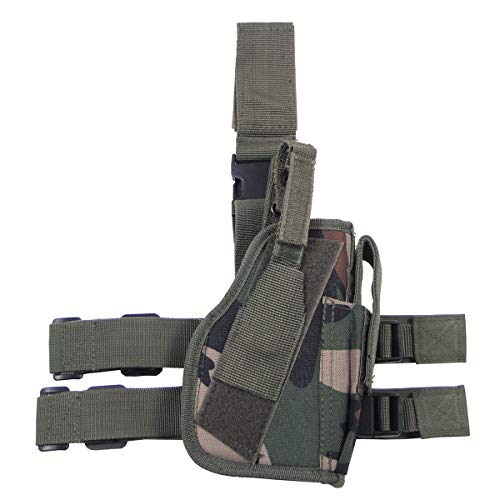 MFH Fondina Gamba Pistola 30725A Attacco Gamba e Cintura Destra (Woodland)
