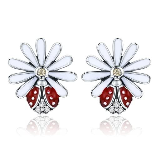Auténtica plata de ley 925 margarita flor roja mariquita pendientes para mujer moda pendientes de...