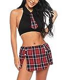 Aibrou Sexy Disfraz Mujer Estilo Colegiala Uniforme Escolar Picardias Mini Schoolgirl Lingerie Interior Disfraza Conjuntos de Lencería