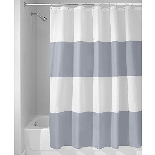 iDesign Zeno Duschvorhang Textil | wasserdichter Duschvorhang mit Streifen | waschbarer Duschvorhang in der Größe 183,0 cm x 183,0 cm | Polyester schieferblau/weiß