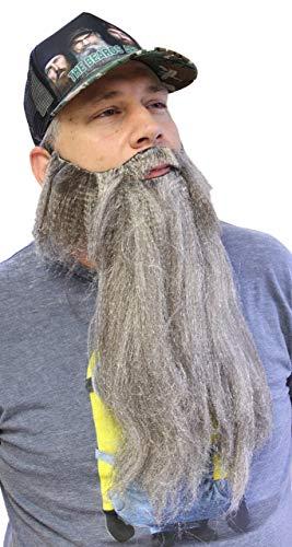 Extra Long Fake Grey Salt & Pepper Beard w/Mustache (One Size Fits All)