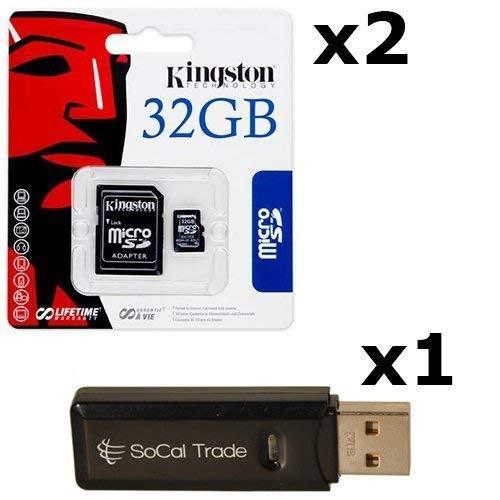 2 PACK - Kingston 32GB MicroSD HC Class 4 TF MicroSDHC TransFlash Memory Card SDC32/32GB 32G 32 GB GIGS (M.A32.RTx2.550) LOT OF 2 with USB SoCal Trade SCT Dual Slot MicroSD & SD Memory Card Reader - Retail Packaging