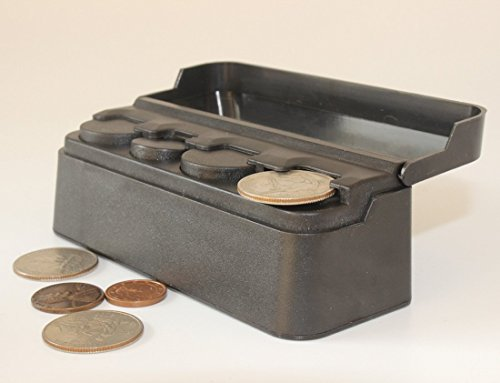 Black Car Coin Holder – Mini Coin Organizer – 4 Slots for Each Coin Type (2 Pack)