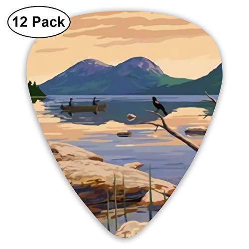 Púas de guitarra (paquete de 12), púas de guitarra para guitarras acústicas, mandolina, ukelele y otros instrumentos (Parque Nacional Acadia, Maine)