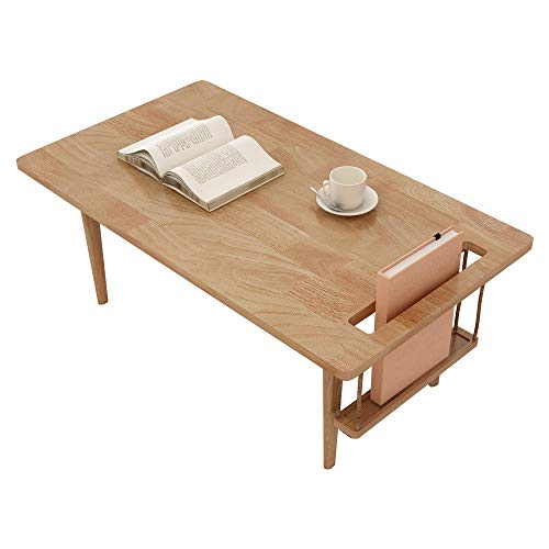 WoodShine Mid Century Modern Mini-Swing Coffee/Tea Table, Japanese Accent Floor Desk, Trapezoidal Shape Solid Wood Sofa Tables with Storage Natural 31.50 inch
