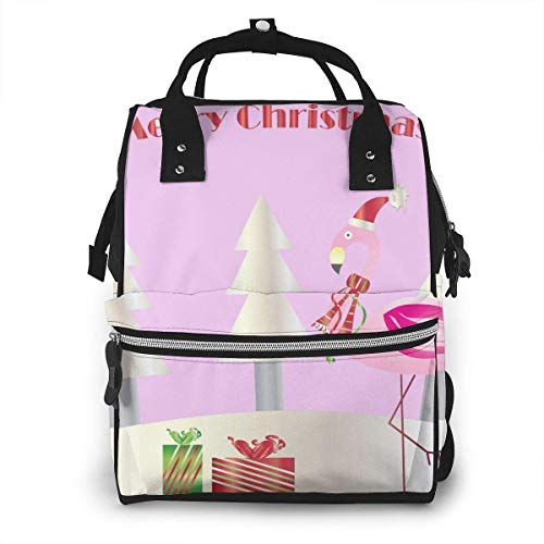 UUwant Sac à Dos à Couches pour Maman Large Capacity Diaper Backpack Travel Manager Baby Care Replacement Bag Nappy Bags Mummy BackpackChristmas Flamingo Merry Christmas Card Vector Image