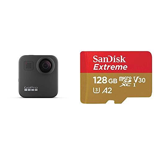 GoPro MAX, Cámara de Acción Digital a Prueba de Agua 360 con Estabilización Irrompible + SanDisk Extreme - Tarjeta de Memoria microSDXC de 128GB con Adaptador SD